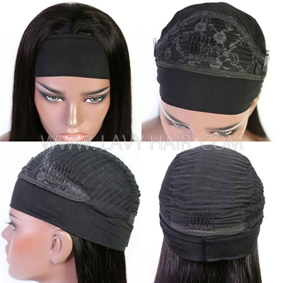 Scarf Headband Wig With Adjustable Velcro 100% Human Virgin Hair Not Lace Wig