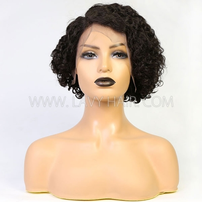 130% Density Lace Frontal Short Bob Wig Pixie Curly Preplucked Human Hair Pixie XX03