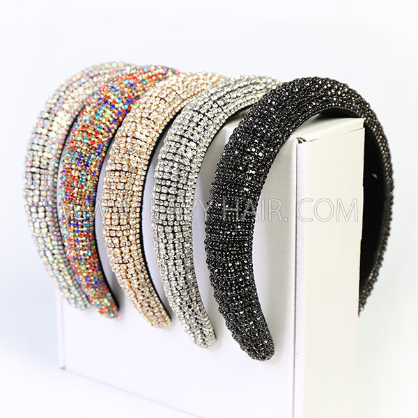 Rhinestone Encrusted Headband Wig Human Virgin Hair No Glue No Lace Natural Color