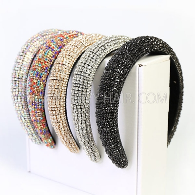 1PC Colorful Crystals-Inlaid Sponge Rhinestone Headband Hair Accessories