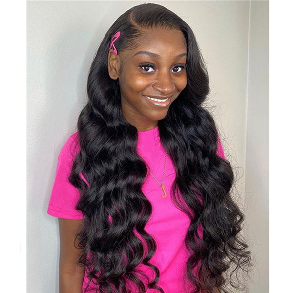 180% Density Lace Frontal Wigs Body Wave Peruvian Hair
