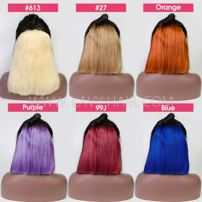 180% Density Hidden Color Highlight Color Lace Frontal Bob Wig Straight Hair