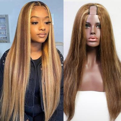 Highlight 4/27 Color 130% & 300% Density U-part Wigs Straight Human Hair