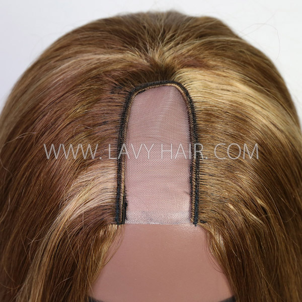 Highlight P4/27 Color 130% & 300% Density U-part Wigs Straight Human Hair