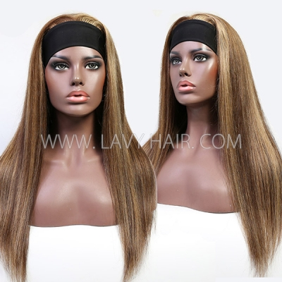 Highlight P4/27 Color Adjustable Scarf Headband Wig Straight Hair 100% Human Virgin Hair Not Lace Wig