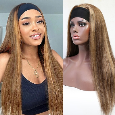 Highlight 4/27 Color Scarf Headband Wig Straight Hair Human Virgin Hair No Glue No Lace