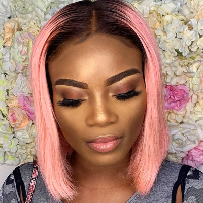 1B Ombre Color Bob Lace Frontal Bob Wig Straight Hair Human Hair 150% Density
