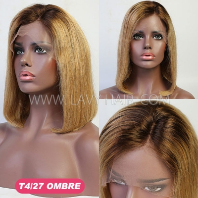 Color Hair Bob Lace Frontal Bob Wig Straight Hair Human Hair 150% Density