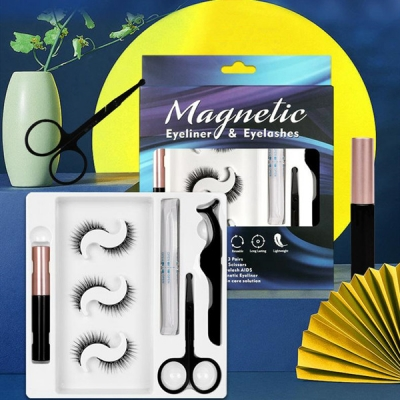 3 Pairs 3D Magnetic Eyelashes Eyeliner Scissors Tweezer Set built-in design with 5 magnetic blocks